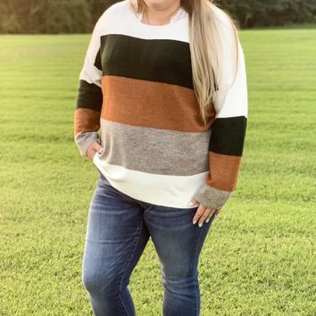 Catching the Chills Color Block Sweater l Plus Size