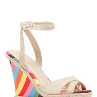 Natural Faux Suede Multi Stripe Ankle Strap Wedges