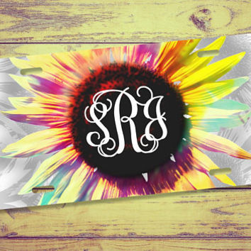 Sunflower Monogram License Plate, Sunflower License Plate, Front License Plate, Car Tags, Cute Car Accessories, Monogram Car Tag