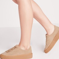 Missguided - Lace Up Flatform Sneakers Beige