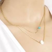 NWOT Gold layer necklace with turquoise