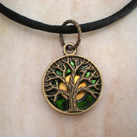 Tree of Life Necklace: Emerald Green - Tree Jewelry - Upcycled Jewelry - Celtic Jewelry - Spring Jewelry - New Age Jewelry - Wiccan Jewelry