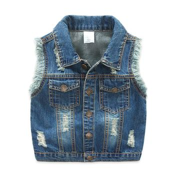 Trendy 2-7T Baby Boys Girls Jeans Vest Babe Jeans Jacket Denim Outerwear Children Clothing Spring Autumn Clothes Kids Jeans Vest Tops AT_94_13
