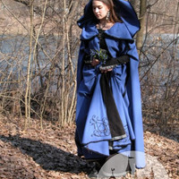 Original Wool Medieval Style Handmade Blue Cloak
