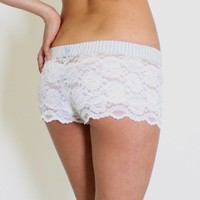FOXERS - White Lace Boxers lt gray stripe