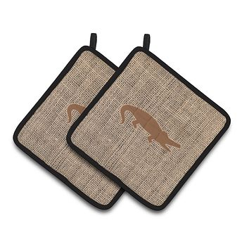 Alligator Faux Burlap and Brown   Pair of Pot Holders BB1120-BL-BN-PTHD