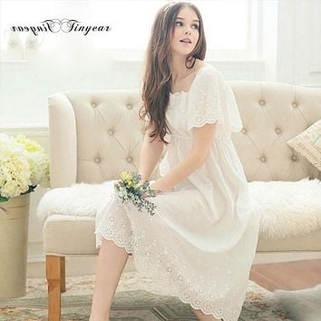 Sexy long romantic nightgowns white cotton nightdress half sleeve M-XL Breathable lace women sleepwear