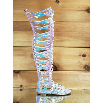 CR Pink Hologram Cutout Lace Up Gladiator Knee Boot Flat Sandals 6-11