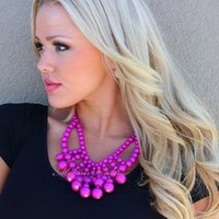 Magenta Acrylic Stone Bubble Necklace - Modern Vintage Boutique