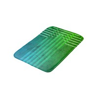 Modern geometric lines green blue pattern color bath mat