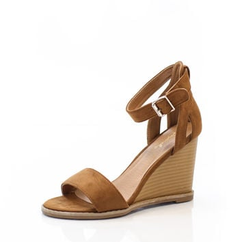 Walk on Suede Camel Wedge