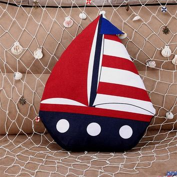 Linen and Cotton Sailboat Decorative Accent Pillows - Red, White and Blue