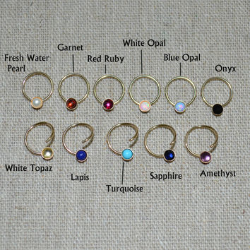 Onyx Septum Ring, Small Gold Nose Ring, Hoop Earring, cartilage/helix/tragus jewelry 16g nose stud 16 gauge piercing