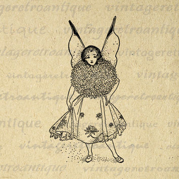 Fairy Girl Printable Graphic Image Digital Fairy Artwork Download Vintage Clip Art for Transfers Making Prints etc HQ 300dpi No.2420