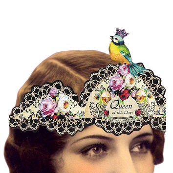 Heart the Moment Queen of This Day with Songbird Wearable Greeting Card/Tiara