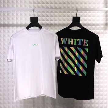 HCXX 19July 435 off white Striped zebra line reflective gradient print men and women short sleeve loose cotton T-shirt