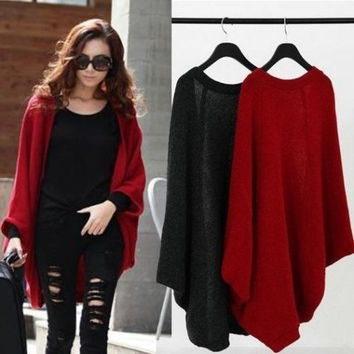 Winter Women Lady Batwing Girl Shawl Knit Cape Casual Jacket Coat Woolen Knitwear Sweater Pullover Knitted Coat Outwears Cardigans Sweatshirts