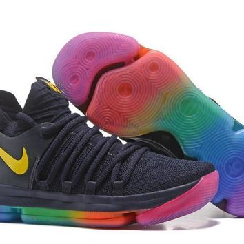2017 Nike Mens Kevin Durant Kd 10 Navy/rainbow Color Basketball Shoes