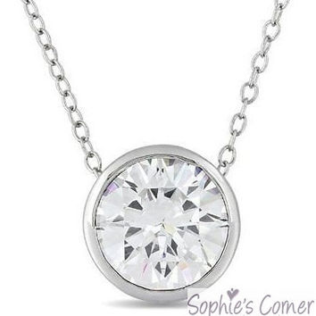 3 ct. Created Diamond Bezel set Slider Pendant Necklace