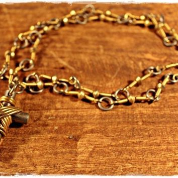 Vintage 1970s Wire-Wrapped + Long Cross Necklace