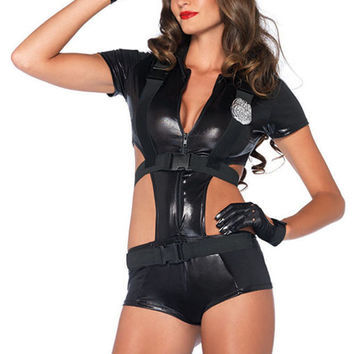 Black Cutout Short Sleeve Jumpsuit Police Costume Set