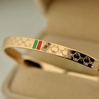 Gucci Plated 18k Rose Gold Titanium Steel High-End Temperament Diamond-Shaped Bracelet