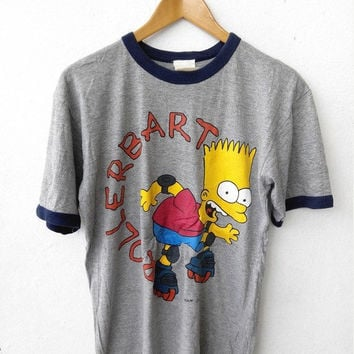 ON SALE Vintage 80's Bart SIMPSON Rolller Blade Skateboard Music Television Funny Punk Cartoon Skateboard Soft Ringer Gray T shirt