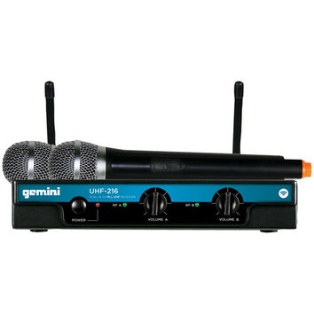 Gemini Dual-channel Wireless Microphone System (includes 2 Handheld Transmitters)