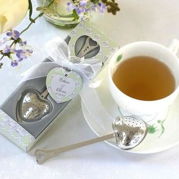 19 X 5cm 1pc Heart Design Spoon Tea Infuser Filter Wedding Souvenir Bridal Shower Favor Gift E2s