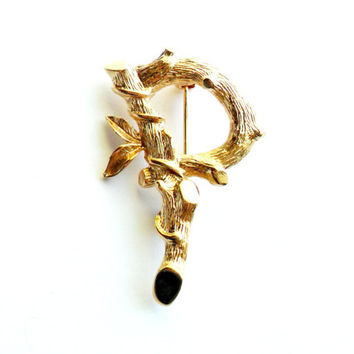 Vintage Monogram P Initial Brooch - Sarah Coventry Signed - Marked Tree Branch - Bamboo - Vine - Woodland