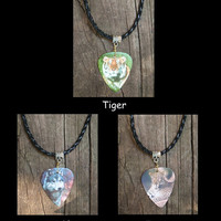Leather Necklace - Wildlife Guitar Pick Jewelry - Wolf, Tiger, Jaguar - Custom Style & Size