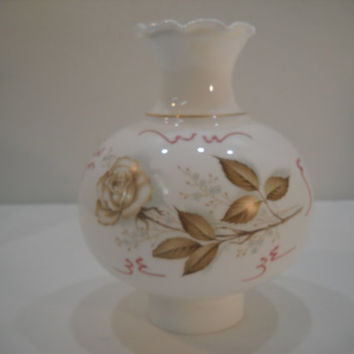 Vintage Rose And Leaves White Milk Glass Lamp Shade Globe Cover