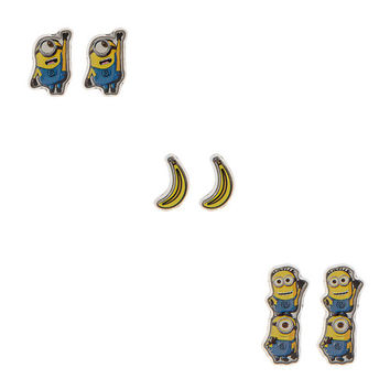 Despicable Me Minions and Bananas Stud Earrings Set of 3