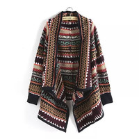 Draped Open Front Geometric Pattern Long Sleeve Knitted Cardigan Sweater