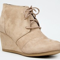 REX Designer toms Inspired Stitch Detail Lace Up Ankle Bootie Wedge Taupe ISU  (8.5 US)