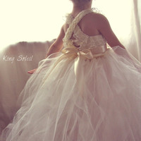 Lace and Tulle Flower Girl Dress Tutu Satin Sash Vintage Ivory - Queen Anne's Lace