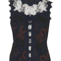 Mix Lace Panel Shell Top - Black