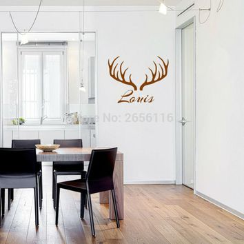 Custom-Made Name antlers Wall Stickers Animal Wallpaper Art Mural