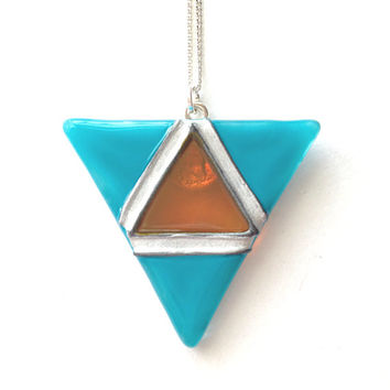 Glass Geometric Triangle Necklace - Silver Plated Chain & Bail, Glass Necklace - in Turquoise and Amber