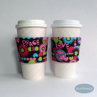 Peace Love Hearts Coffee Cup Cozy, Cold Drink Wrap | SewAmazin