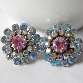 Vendome Aurora Borealis Stunning Crystal Cluster Earrings - High End Costume Jewellery - Vendome Jewelry - Coro Jewelry