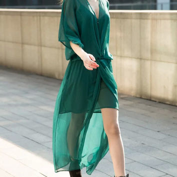 Green V Neck Chiffon Beach Dress