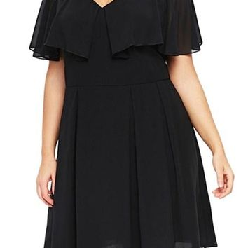 Short Sleeve Black Plus Size Skater Dress
