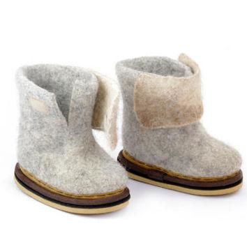 Baby kids wool boots- toddler felted shoes- warm winter baby shoes- wool boots for kid