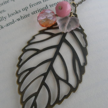 Leaf necklace- Filigree necklace-Pink glass bead necklace- Pink necklace- Antique bronze leaf necklace- Nature- Romance- Spring fashion