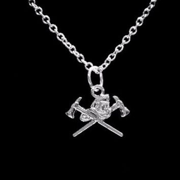 Firefighter Axe Helmet Fireman Wife Girlfriend Daughter Gift Charm Necklace