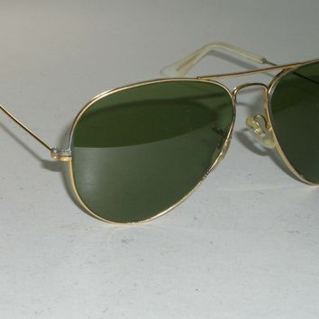 059a3d416890f 1960 s 58 14 VINTAGE B L RAY-BAN RB3 TRU-GREEN ARISTA GEP AVIATO