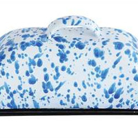 Blue Splatter Enameled Butter Dish