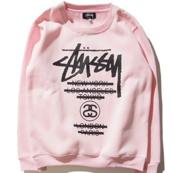 STU classic Stussy parade couple sweater color sweater men and women with the same paragraph round neck head Pink