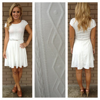 White Geo-Texture Knit Dress with Belt